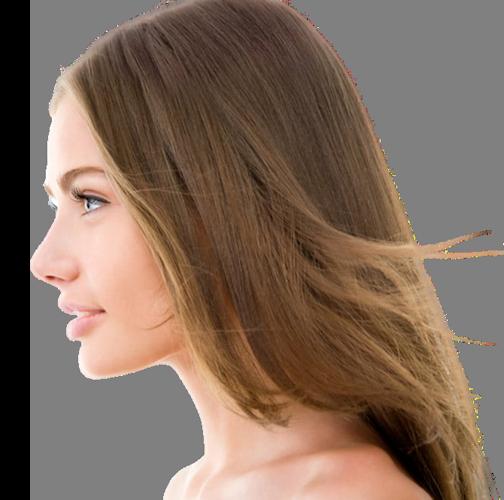 Φωτογραφία μιας αρμονικής μύτης σε ένα γυναικείο προφιλ